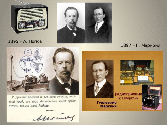 1895 – А. Попов 1897 – Г. Маркони