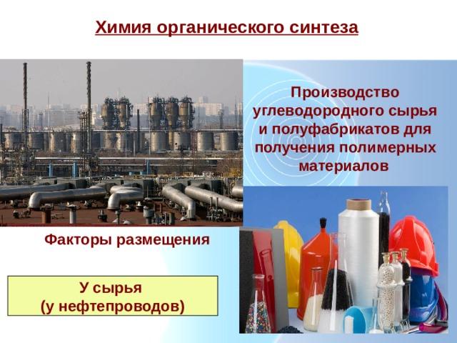 Химия органического синтеза Производство углеводородного сырья и полуфабрикатов для получения полимерных материалов  Факторы размещения У сырья (у нефтепроводов)