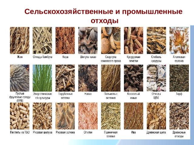 Сельскохозяйственные и промышленные отходы