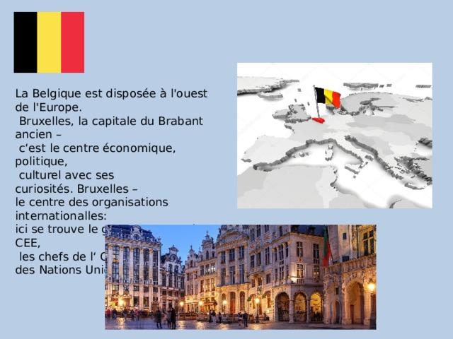 La Belgique est disposée à l'ouest de l'Europe.  Bruxelles, la capitale du Brabant ancien –  c'est le centre économique, politique,  culturel avec ses curiosités.Bruxelles – le centre des organisations internationalles: ici se trouve le gouvernement de CEE,  les chefs de l' ONUl(Organisation des Nations Unies.).