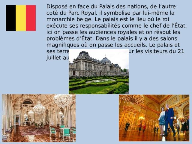 Disposé en face du Palais des nations, de l'autre coté du Parc Royal, il symbolise par lui-même la monarchie belge. Le palais est le lieu où le roi exécute ses responsabilités comme le chef de l'État, ici on passe les audiences royales et on résout les problèmes d'État. Dans le palais il y a des salons magnifiques où on passe les accueils. Le palais et ses terrasses sont ouvertes pour les visiteurs du 21 juillet au début de septembre.
