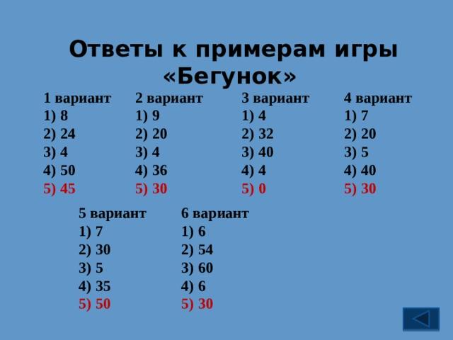 Ответы к примерам игры «Бегунок» 4 вариант 1 вариант 2 вариант 3 вариант 8 24 4 50 9 20 4 36 7 20 5 40 4 32 40 4 30 0 30 45 5 вариант 6 вариант