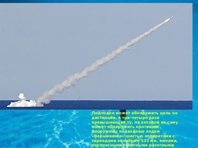 Подлодка может обнаружить цель на дистанции, в три-четыре раза превышающей ту, на которой ее саму может обнаружить противник. Вооружены подводные лодки «Варшавянка» шестью аппаратами с торпедами калибром 533 мм, минами, переносными зенитными ракетными комплексами «Стрела-3» или «Игла» (восемь ракет).