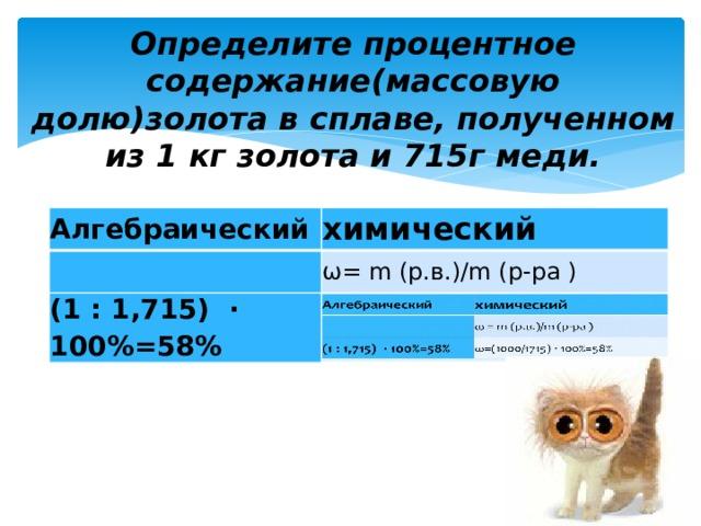 Определите процентное содержание(массовую долю)золота в сплаве, полученном из 1 кг золота и 715г меди.   Алгебраический Алгебраический химический химический ω= m (р.в.)/m (р-ра ) ω= m (р.в.)/m (р-ра ) (1 : 1,715) ∙ 100%=58% (1 : 1,715) ∙ 100%=58% ω=(1000/1715)100%=58%