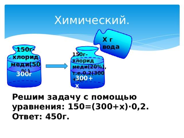 Химический. Х г вода 150г-хлорид меди(50%) 150г-хлорид меди(20%), т.е.0,2(300+х)г 300г 300+х Решим задачу с помощью уравнения: 150=(300+х)∙0,2. Ответ: 450г.