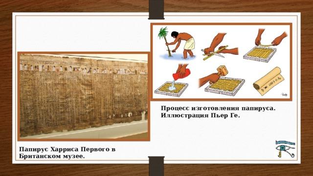 Процесс изготовления папируса. Иллюстрация Пьер Ге. Папирус Харриса Первого в Британском музее.