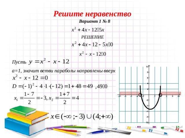 Решите неравенство Вариант 1 № 8  РЕШЕНИЕ  Пусть  а=1, значит ветви параболы направлены вверх.