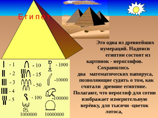 Египет  Это одна из древнейших  нумераций. Надписи  египтян состоят из  картинок - иероглифов. Сохранились  два математических папируса,  позволяющие судить о том, как считали древние египтяне. Полагают, что иероглиф для сотни изображает измерительную верёвку, для тысячи -цветок лотоса,