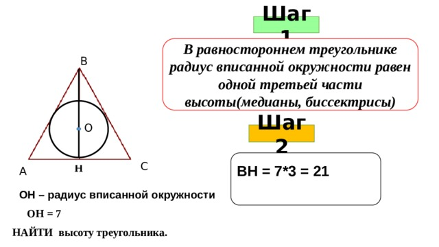 Шаг 1 В равностороннем треугольнике радиус вписанной окружности равен одной третьей части высоты(медианы, биссектрисы) В О Шаг 2  ВН = 7*3 = 21   С Н А ОН – радиус вписанной окружности ОН = 7 НАЙТИ высоту треугольника.
