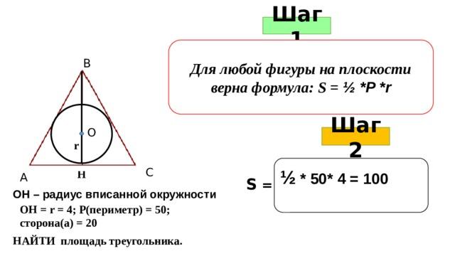 Шаг 1 Для любой фигуры на плоскости верна формула: S = ½ *P *r В О Шаг 2 r  ½ * 50* 4 = 100   С Н А S = ОН – радиус вписанной окружности ОН = r = 4; Р(периметр) = 50; сторона(а) = 20 НАЙТИ площадь треугольника.