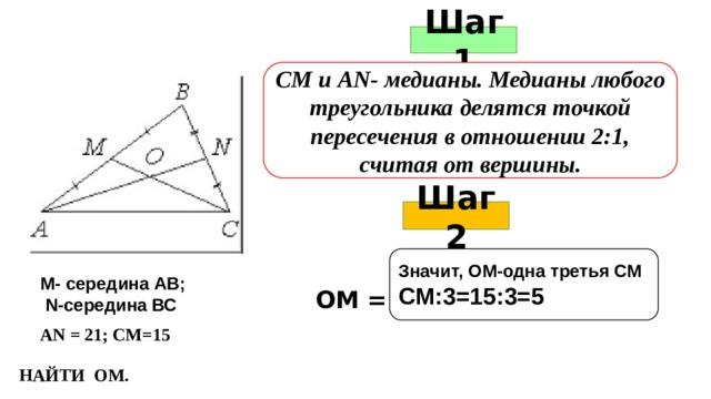 Шаг 1 СМ и АN- медианы. Медианы любого треугольника делятся точкой пересечения в отношении 2:1, считая от вершины. Шаг 2   Значит, ОМ-одна третья СМ СМ:3=15:3=5   М- середина АВ;  N-середина ВС ОМ = АN = 21; СМ=15 НАЙТИ ОМ.
