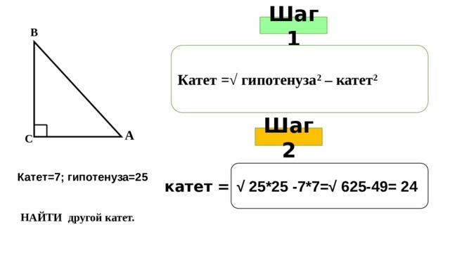 Шаг 1 В Катет =√ гипотенуза 2 – катет 2 А Шаг 2 С   Катет=7; гипотенуза=25 √ 25*25 -7*7=√ 625-49= 24 катет = НАЙТИ другой катет.