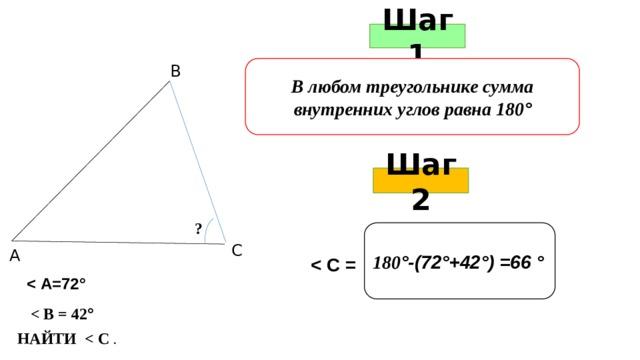Шаг 1 В любом треугольнике сумма внутренних углов равна 180 ° В Шаг 2 ? 180 °-(72°+42°) =66 ° С А    ° НАЙТИ  .