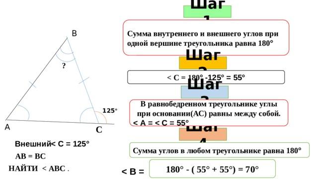 Шаг 1 Сумма внутреннего и внешнего углов при одной вершине треугольника равна 180 ° В Шаг 2 ?  ° -125° = 55° Шаг 3 В равнобедренном треугольнике углы при основании(АС) равны между собой.  125 ° А С Шаг 4  Внешний Сумма углов в любом треугольнике равна 180 ° АВ = ВС 180° - ( 55° + 55°) = 70° НАЙТИ  .