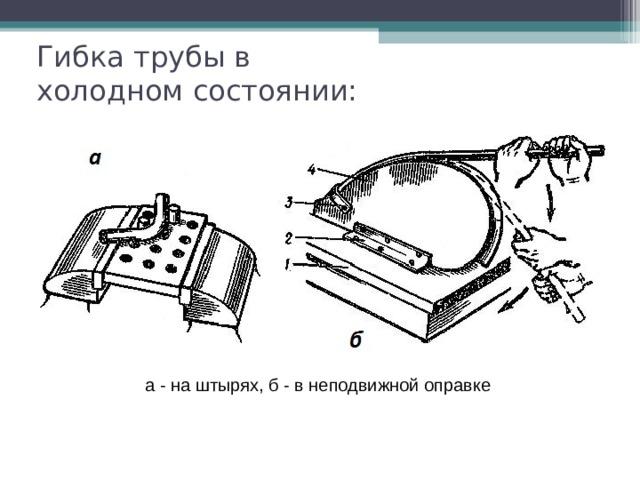 Гибка трубы в холодном состоянии: а - на штырях, б - в неподвижной оправке