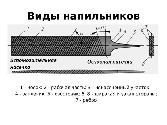 Виды напильников 1 - носок; 2 - рабочая часть; 3 - ненасеченный участок; 4 - заплечик; 5 - хвостовик; 6, 8 - широкая и узкая стороны;  7 - ребро