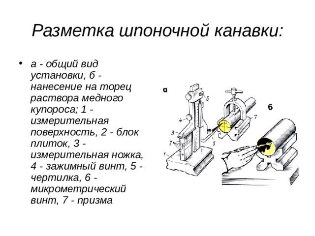 Разметка шпоночной канавки:
