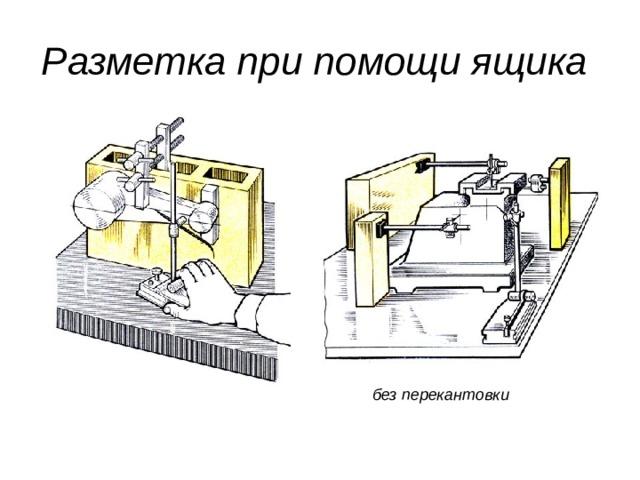 Разметка при помощи ящика  без перекантовки