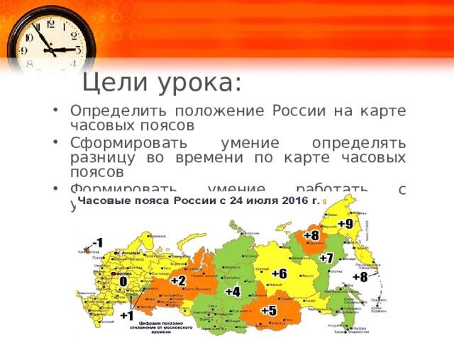 Цели урока: Определить положение России на карте часовых поясов Сформировать умение определять разницу во времени по карте часовых поясов Формировать умение работать с учебником 1