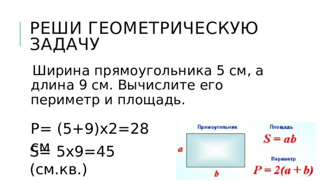 Р= (5+9)х2=28 см Реши геометрическую задачу Ширина прямоугольника 5 см, а длина 9 см. Вычислите его периметр и площадь. S= 5х9=45 (см.кв.)