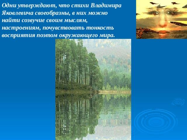 Одни утверждают, что стихи Владимира Яковлевича своеобразны, в них можно найти созвучие своим мыслям, настроениям, почувствовать тонкость восприятия поэтом окружающего мира.