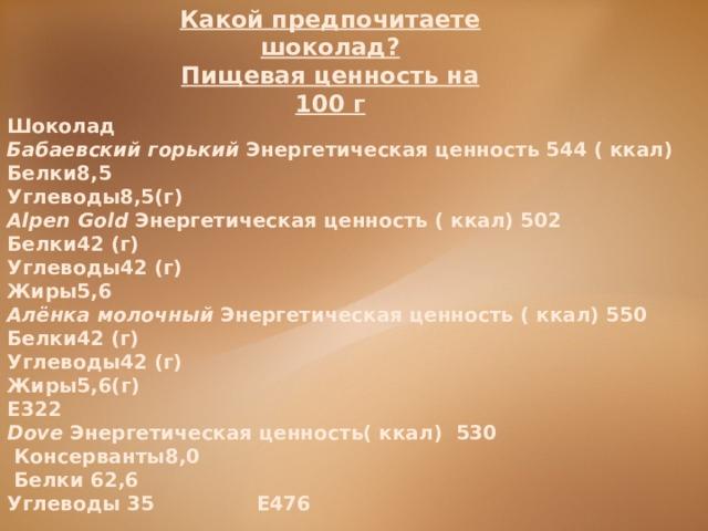Какой предпочитаете шоколад? Пищевая ценность на 100 г Шоколад Бабаевский горький Энергетическая ценность 544 ( ккал) Белки8,5 Углеводы8,5(г) Alpen Gold Энергетическая ценность ( ккал) 502 Белки42 (г) Углеводы42 (г) Жиры5,6 Алёнка молочный Энергетическая ценность ( ккал) 550 Белки42 (г) Углеводы42 (г) Жиры5,6(г) Е322 Dove Энергетическая ценность( ккал) 530  Консерванты8,0  Белки 62,6 Углеводы 35 Е476