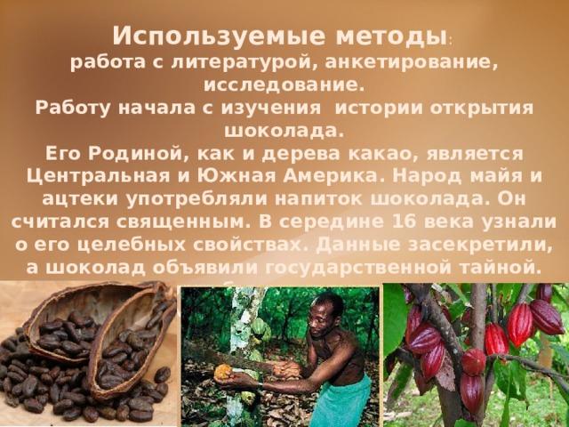 Используемые методы : работа с литературой, анкетирование, исследование. Работу начала с изучения истории открытия шоколада. Его Родиной, как и дерева какао, является Центральная и Южная Америка. Народ майя и ацтеки употребляли напиток шоколада. Он считался священным. В середине 16 века узнали о его целебных свойствах. Данные засекретили, а шоколад объявили государственной тайной. Долго шоколад был доступен только очень богатым людям. Производство было сложным, а ингредиенты – очень дорогими. Лишь в конце 19 века он стал доступным для всех.