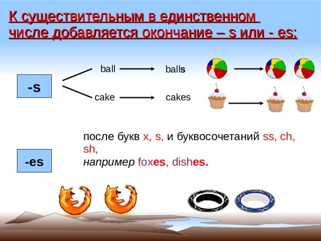 К существительным в единственном числе добавляется окончание – s или - es: ball  ball s -s  cakes cake после букв x, s, и буквосочетаний ss, ch, sh, например fox es , dish es. -es