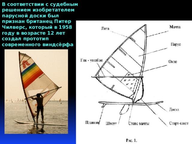 В соответствии с судебным решением изобретателем парусной доски был признан британец Питер Чилверс, который в 1958 году в возрасте 12 лет создал прототип современного виндсёрфа