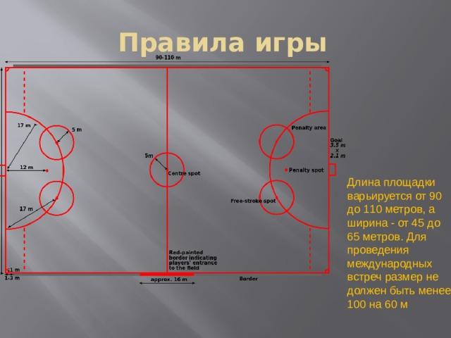Правила игры Длина площадки варьируется от 90 до 110 метров, а ширина - от 45 до 65 метров. Для проведения международных встреч размер не должен быть менее 100 на 60 м
