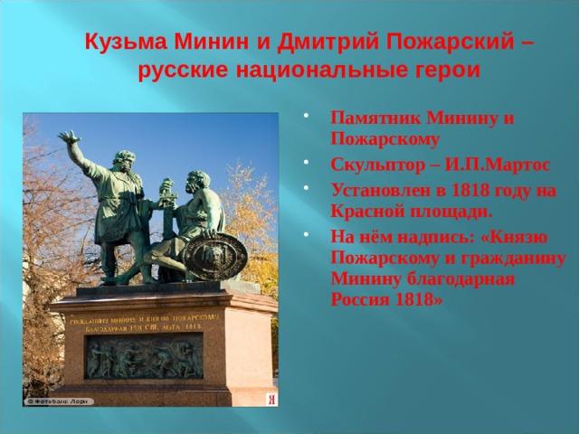 Кузьма Минин и Дмитрий Пожарский – русские национальные герои