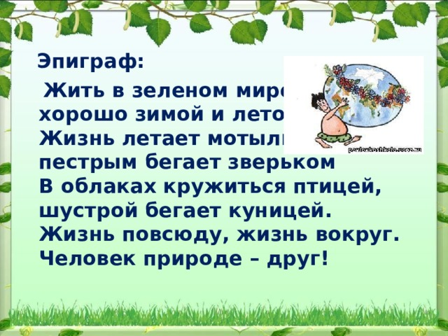 Эпиграф:  Жить в зеленом мире этом  хорошо зимой и летом.  Жизнь летает мотыльком,  пестрым бегает зверьком  В облаках кружиться птицей,  шустрой бегает куницей.  Жизнь повсюду, жизнь вокруг.  Человек природе – друг!