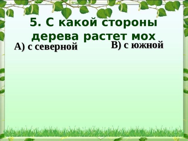 5. С какой стороны дерева растет мох   В) с южной А) с северной