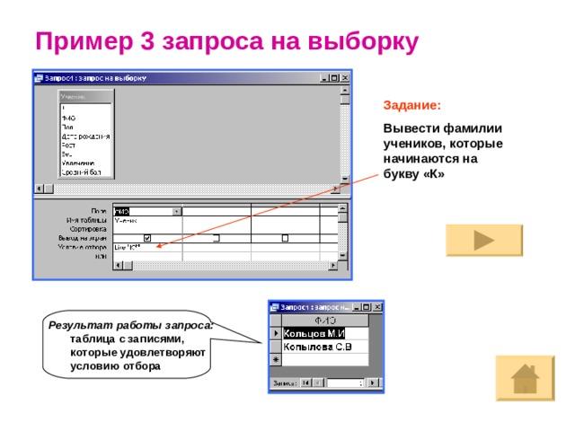 Пример 3 запроса на выборку Задание: Вывести фамилии учеников, которые начинаются на букву «К» Результат работы запроса: таблица с записями, которые удовлетворяют условию отбора