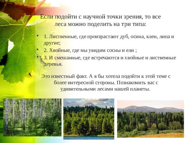 Если подойти с научной точки зрения, то все леса можно поделить на три типа: 1. Лиственные, где произрастают дуб, осина, клен, липа и другие; 2. Хвойные, где мы увидим сосны и ели ; 3. И смешанные, где встречаются и хвойные и лиственные деревья. Это известный факт. А я бы хотела подойти к этой теме с более интересной стороны. Познакомить вас с удивительными лесами нашей планеты.