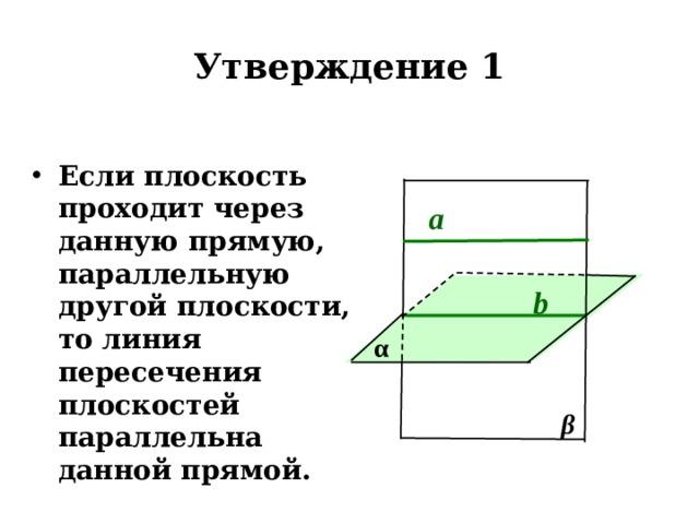 Утверждение 1 Если плоскость проходит через данную прямую, параллельную другой плоскости, то линия пересечения плоскостей параллельна данной прямой. а b α β