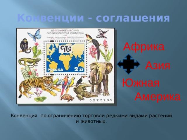 Конвенции - соглашения Африка Азия Южная  Америка Конвенция по ограничению торговли редкими видами растений и животных.