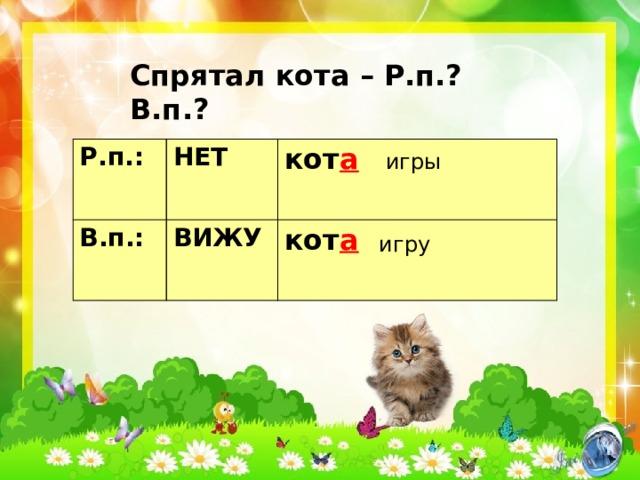 Спрятал кота – Р.п.? В.п.? Р.п.: НЕТ В.п.: кот а ВИЖУ кот а игры игру