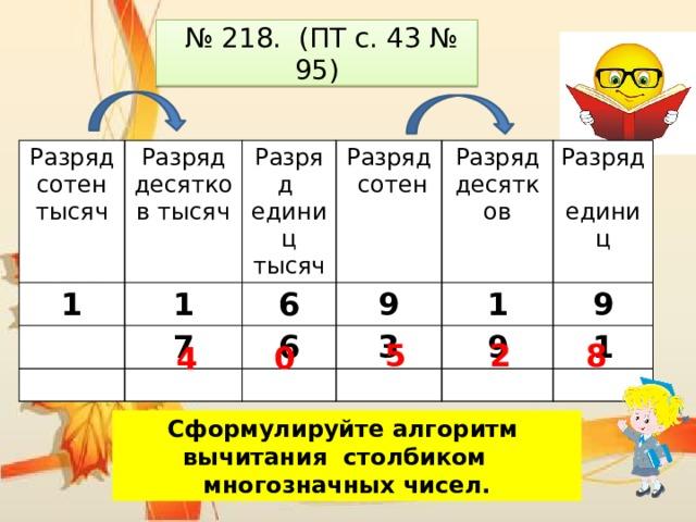 № 218. (ПТ с. 43 № 95) Разряд сотен тысяч Разряд десятков тысяч 1 1 Разряд единиц тысяч Разряд сотен 7 6 9 Разряд десятков 6 3 1 Разряд единиц 9 9 1 8 2 5 0 4 Сформулируйте алгоритм вычитания столбиком многозначных чисел.