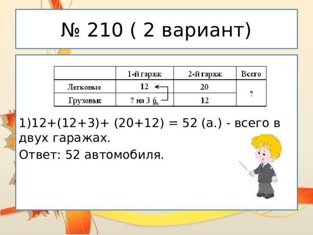№ 210 ( 2 вариант) 1)12+(12+3)+ (20+12) = 52 (а.) - всего в двух гаражах. Ответ: 52 автомобиля.