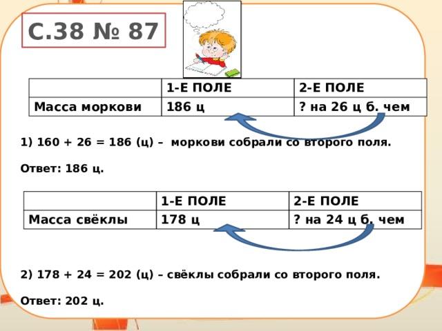 160 + 26 = 186 (ц) – моркови собрали со второго поля.  Ответ: 186 ц.        178 + 24 = 202 (ц) – свёклы собрали со второго поля.  Ответ: 202 ц.  С.38 № 87 1-Е ПОЛЕ Масса моркови 2-Е ПОЛЕ 186 ц ? на 26 ц б. чем Масса свёклы 1-Е ПОЛЕ 2-Е ПОЛЕ 178 ц ? на 24 ц б. чем