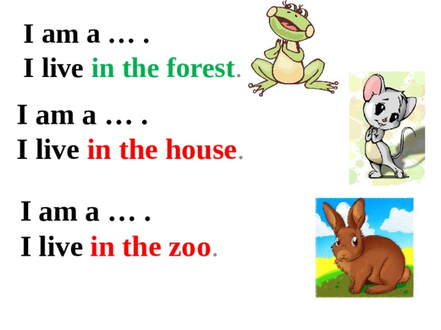I am a … .  I live in the forest . I am a … .  I live in the house .   I am a … .  I live in the zoo .