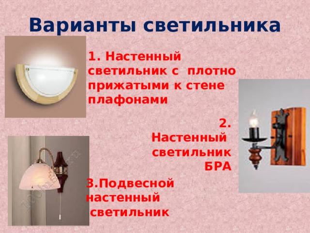 Варианты светильника 1. Настенный светильник с плотно прижатыми к стене плафонами 2. Настенный светильник БРА 3.Подвесной настенный  светильник