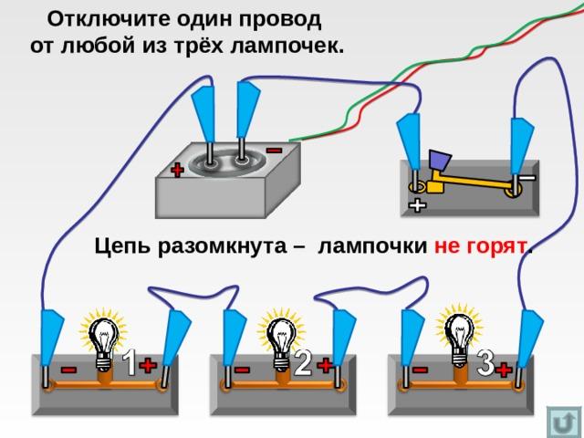 Отключите один провод  от любой из трёх лампочек. Цепь разомкнута – лампочки не горят .