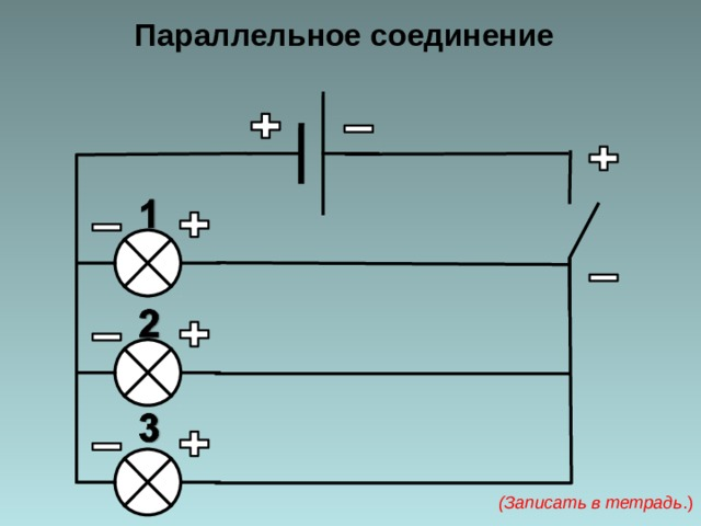 Параллельное соединение (Записать в тетрадь .)