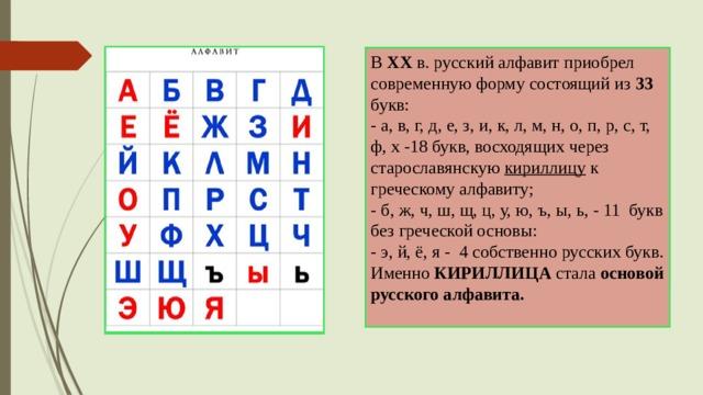 В ХХ в. русский алфавит приобрел современную форму состоящий из 33 букв:  - а, в, г, д, е, з, и, к, л, м, н, о, п, р, с, т, ф, х -18 букв, восходящих через старославянскую кириллицу  к греческому алфавиту;  - б, ж, ч, ш, щ, ц, у, ю, ъ, ы, ь, - 11 букв без греческой основы:  - э, й, ё, я - 4 собственно русских букв. Именно КИРИЛЛИЦА стала основой русского алфавита.