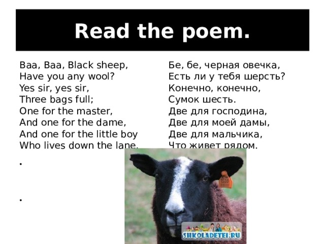 Read the poem. Baa, Baa, Black sheep, Have you any wool? Yes sir, yes sir, Three bags full; One for the master, And one for the dame, And one for the little boy Who lives down the lane. Бе, бе, черная овечка, Есть ли у тебя шерсть? Конечно, конечно, Сумок шесть. Две для господина, Две для моей дамы, Две для мальчика, Что живет рядом.