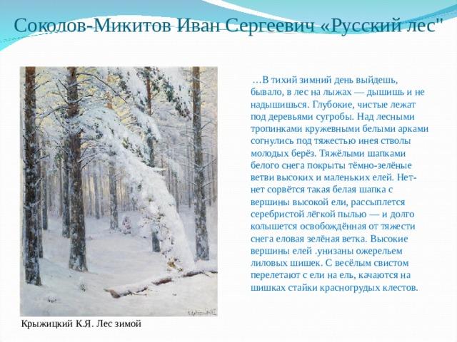 Соколов-Микитов Иван Сергеевич «Русский лес