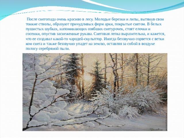 После снегопада очень красиво в лесу. Молодые березки и липы, вытянув свои тонкие стволы, образуют причудливых форм арки, покрытые снегом. В белых пушистых шубках, напоминающих озябших снегурочек, стоят елочки и сосенки, опустив заснеженные рукава. Снеговая лепка выразительна, и кажется, что ее создавал какой-то чародей-скульптор. Иногда беззвучно сорвется с ветки ком снега и также беззвучно упадет на землю, оставляя за собой в воздухе полосу серебряной пыли.