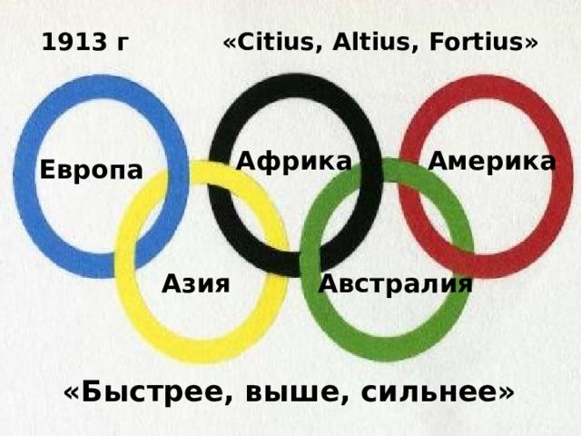 1913 г «Citius, Altius, Fortius» Африка Америка Европа Азия Австралия «Быстрее, выше, сильнее»